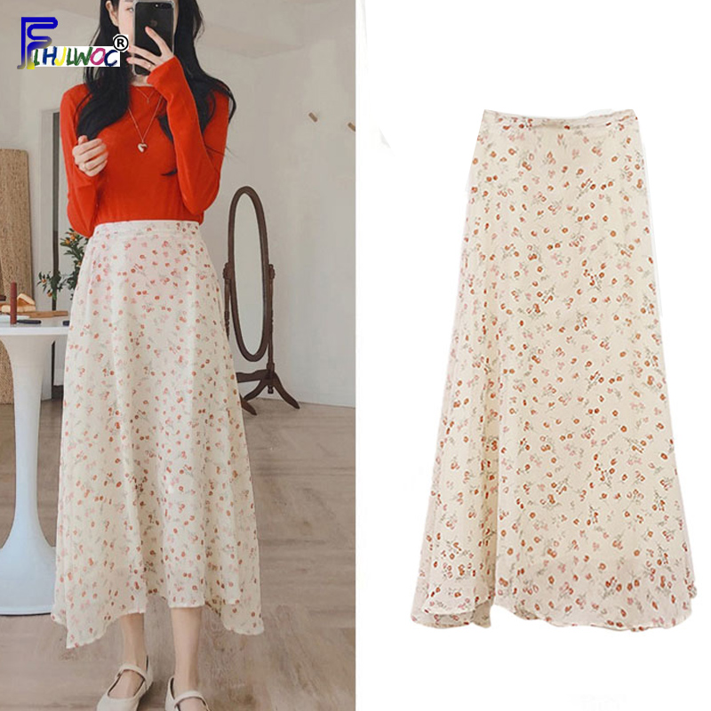 Womens Summer Skirts Hot Sales Korean Japanese Style Design Date Fashion Floral Printed Chiffon High Waist Skirt Long 4188
