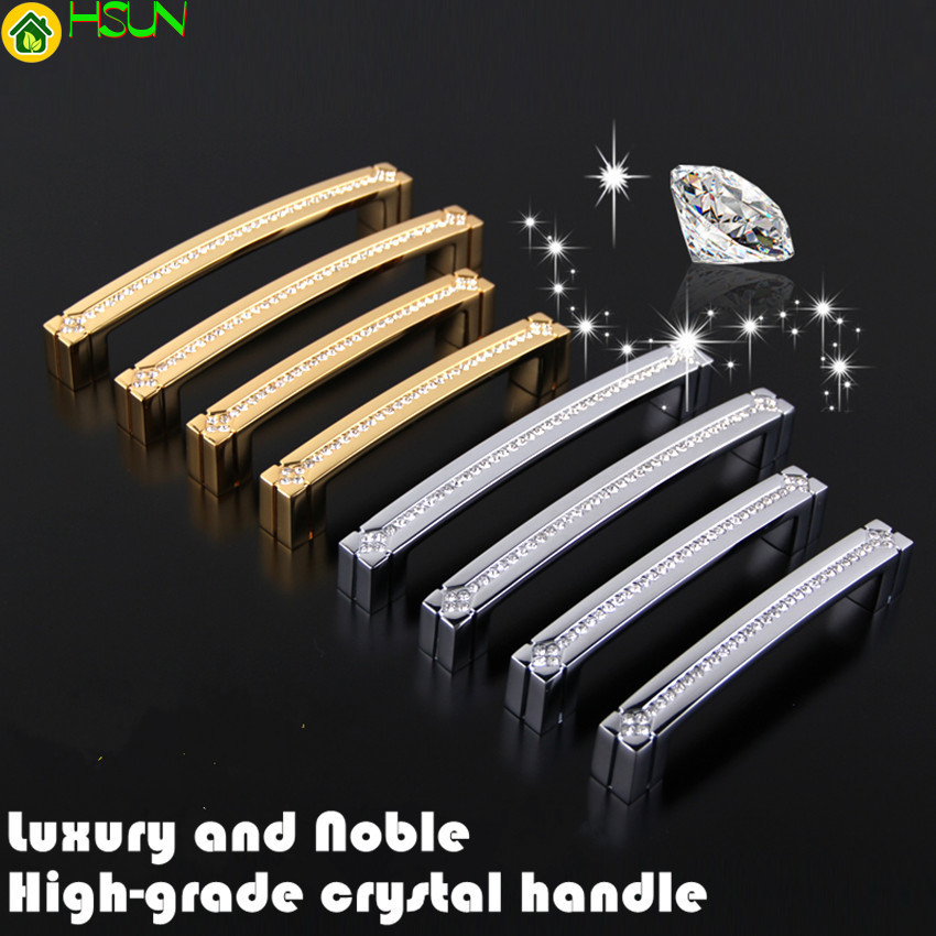 128mm 160mm Fashion Dexule Diamond Furniture Handle Solid Gold Silver Clear Crystal Kitchen Cabinet Cupboard Dresser Pull Handle in Cabinet Pulls from Home Improvement