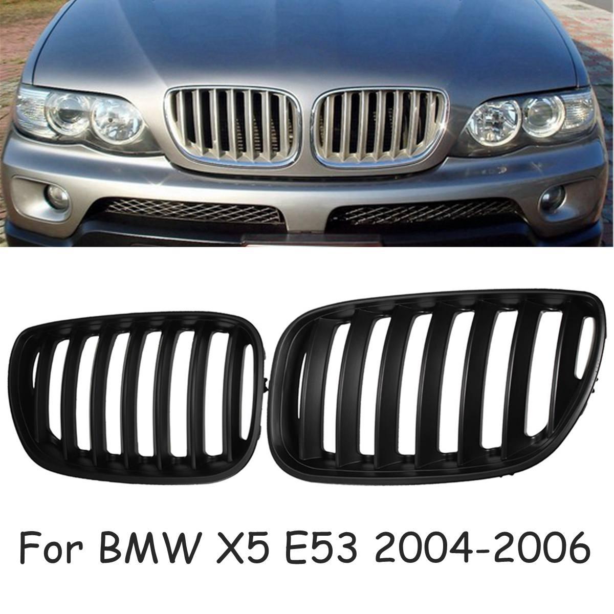 Pour BMW X5 E53 2004-2006 paire mat noir Chrome capot avant rein Sport grilles Grille pare-chocs avant calandre voiture style