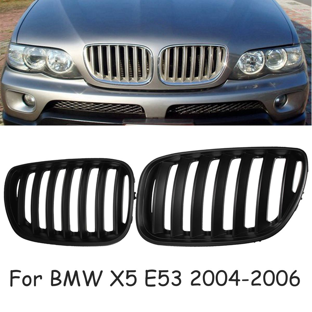 for BMW X5 E53 2004-2006  Pair Matte Black Chrome Front Hood Kidney Sport Grills Grille Front Bumper Grille Car Styling
