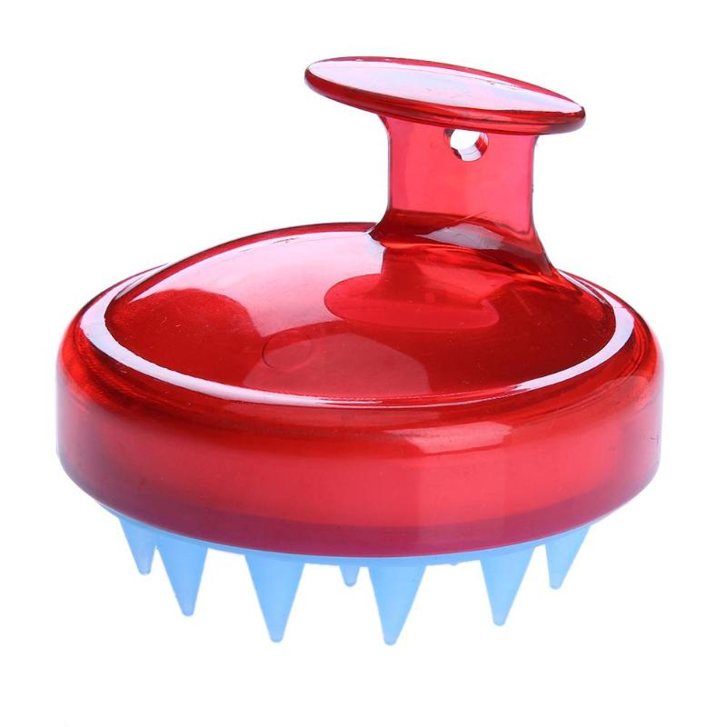 Купить с кэшбэком 1 pcs Spa Slimming Massage Brush Silicone Head Body Shampoo Scalp Massage Brush Comb Hair Washing Comb Shower Bath Brush props