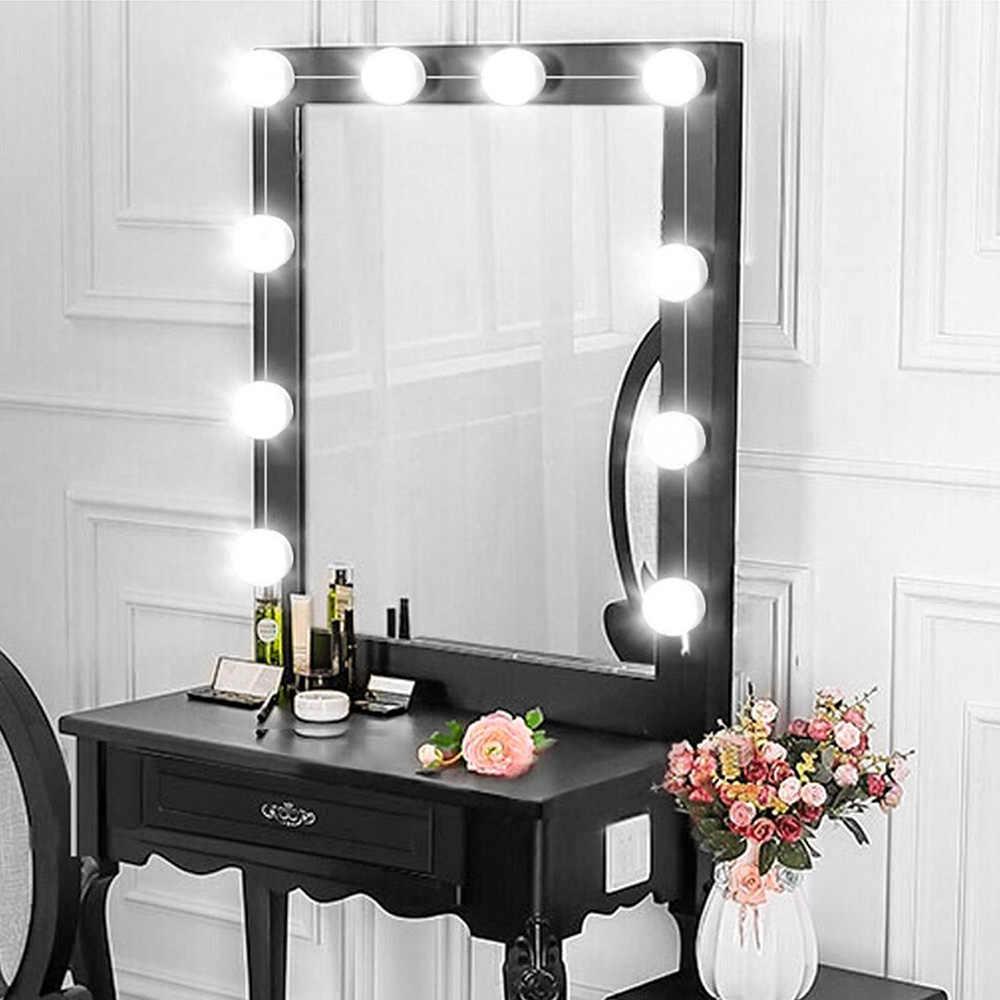 USB светодиодный свет тщеславия 12 V макияж лампы 10 лампы Комплект для одевания туалетный столик Плавная регулировкая яркости Голливуд LED-подсветка маленького зеркала 8 Вт
