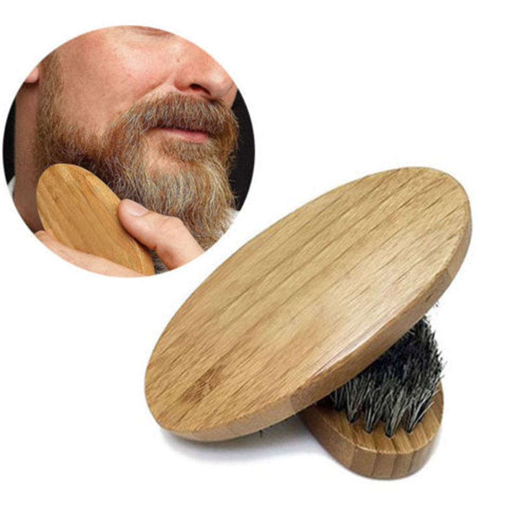 1PC Boar Hair Bristle Beard Mustache Brush Comb Military Hard Oval Wood Handle