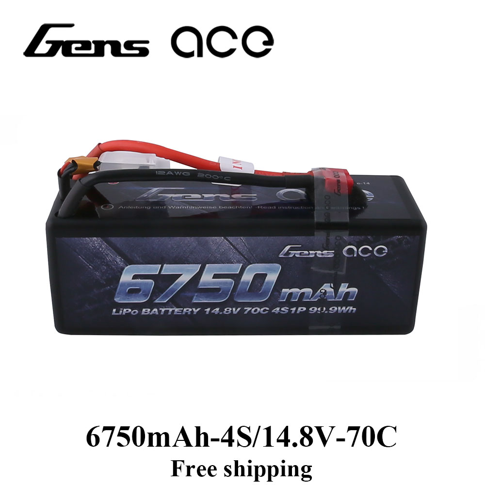 Gens ace 4S 6750 mah Lipo 14.8 v Batterie Pack 70C XT90 T Plug pour Traxxas X-maxx 1/8 voiture Lipo Batteria Quad Drone Bateau