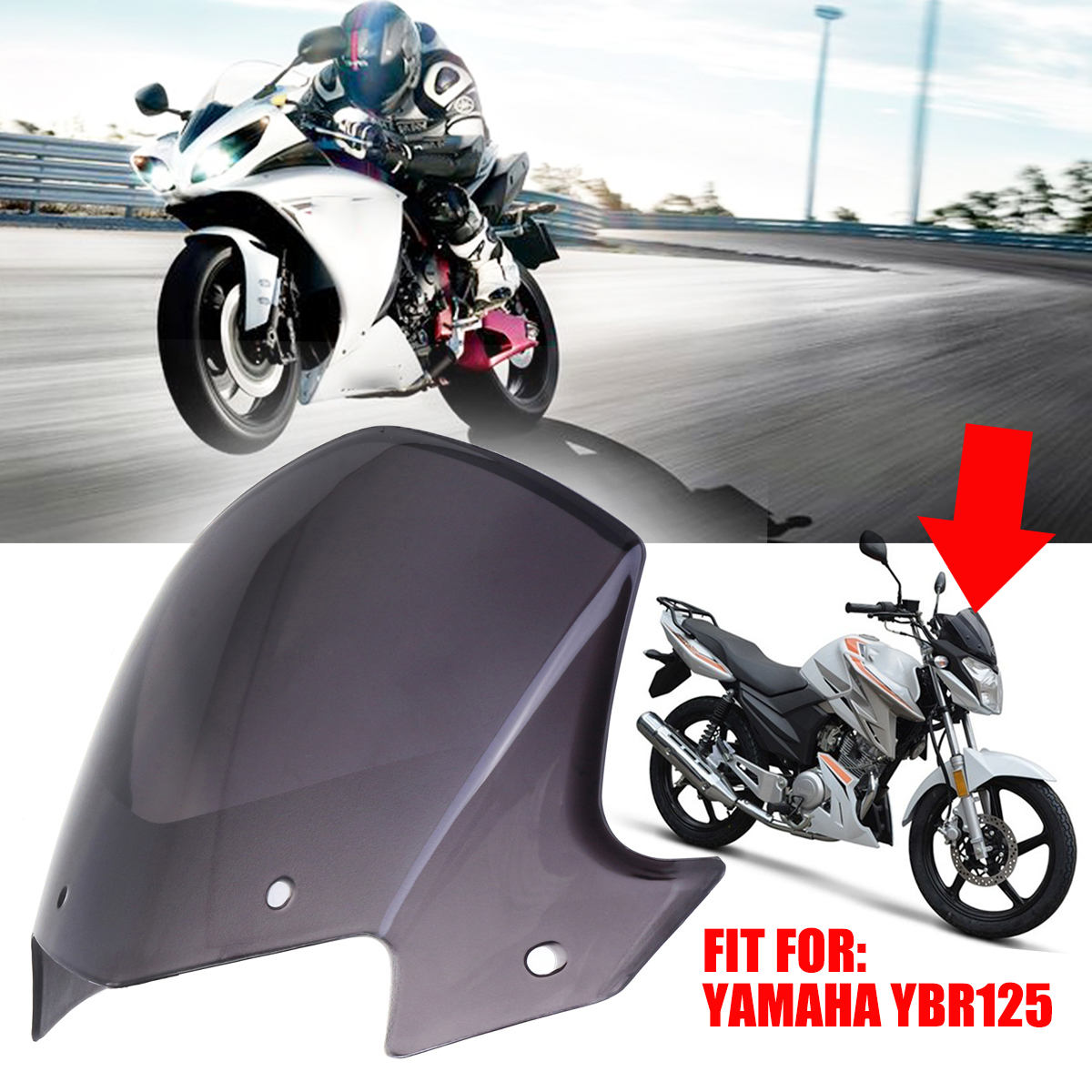 For Yamaha YBR 125 Headlight Fairing Wind Shield Screen With Accessories Transparent Brown Motor Windshield Screen 2014-2017