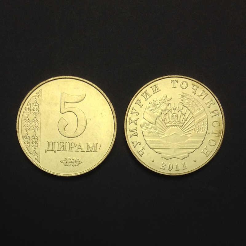 Tayikistán moneda única 5 diram 2011 KM #23 ¡Tío sin circulación de colección regalo, monedas asiáticas auténticas originales 100%