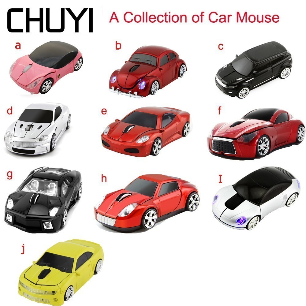 CHUYI Wireless Car Mouse 2.4Ghz USB Optical Sports Car Mice A Collection of Cars Computer Mause For PC Laptop Desktop Gift Boy|Mice| |  - title=