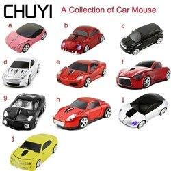 CHUYI bezprzewodowy samochód mysz 2.4Ghz optyczne usb samochód sportowy myszy kolekcja samochodów komputer Mause na PC Laptop pulpit prezent chłopiec