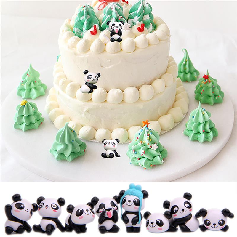 Image 4 - 8PCS Playful Version Cartoon Panda Cake Decoration Creative Wild Garden Micro Landscape Cute Doll Party Cake Decoration-in Cake Decorating Supplies from Home & Garden