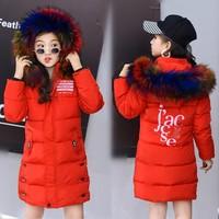 Зимняя куртка пальто для девочек фиолетовое милое цветное пальто с капюшоном и меховым воротником, размер От 7 до 14 лет, детская одежда плотн...