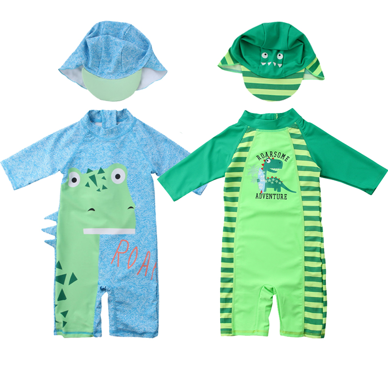 469fb6a123185 Baby Girl Clothes Kid Protective Swimwear Rash Swimsuit Girl Boy Swim+Hat  Costume Set Dimensional Dinosaur Quick Drying Cloth-in Clothing Sets from  Mother ...