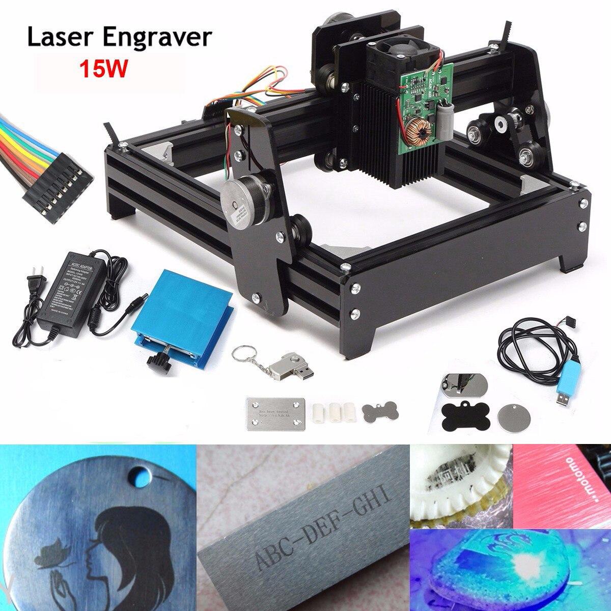 Nova 15 W Laser COMO-5 USB Desktop 15000 mW Laser Gravadora CNC DIY Máquina Da Marcação Para Metal Pedra área de Gravura Em madeira 14x20 cm