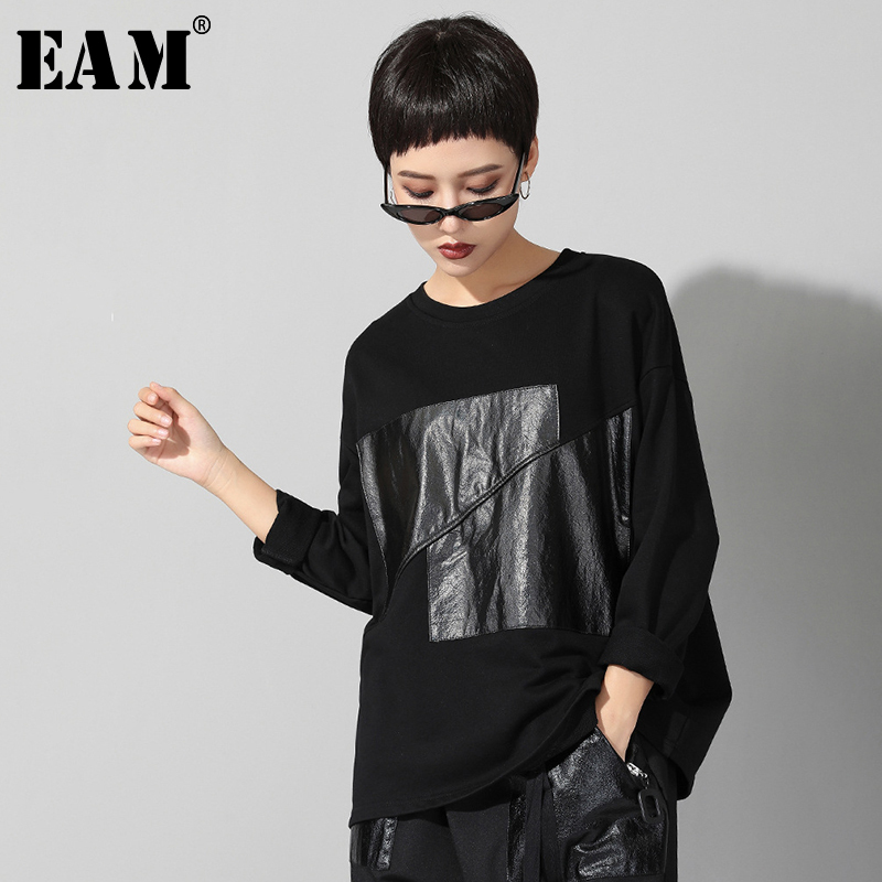 [EAM]2020 New Autumn Winter Round Neck Long Sleeve Black Split Joint Loose Big Size Personality T-shirt Women Fashion Tide JR574