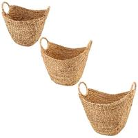 Large Woven Storage Basket With Braided Handles As Organizer For Blankets Towels Pillows Toys Laundry
