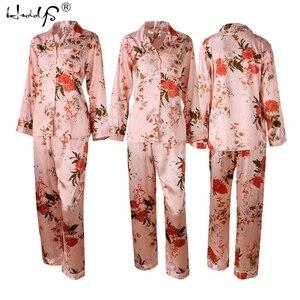 Image 4 - Polka Dot baskı Pijama seti 2019 bahar Pijama ipek uzun kollu Pijama setleri kadınlar için pantolon ile saten baskı ev giyim Feminino