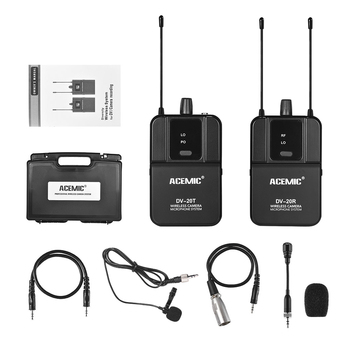 DV-20 UHF Wireless Microphone System Lavalier Mic 100M Effective Range for DSLR Camera Camcorder Interview Sound Recording