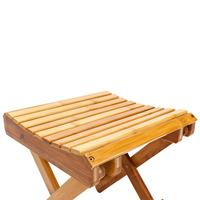 Children Multi function Collapsible Bamboo Stool Bamboo Material Wood Color Suitable For Shower Foot Rest, Spa