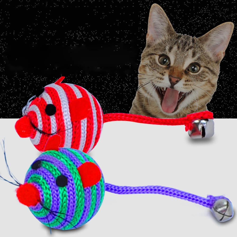 Lovely Stripe Nylon Rope Round Ball Mouse Long Tail Bell Pet Cat Bite Play Toy Cat Supplies Playing Toy Interactive Gifts