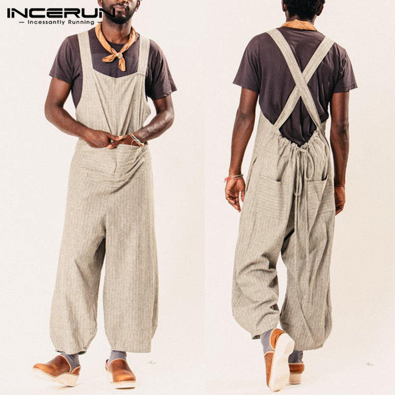 Plain Men <font><b>Jumpsuit</b></font> Rompers Stripe Wide Leg Pants Baggy Dungarees Overalls Casual <font><b>Jumpsuits</b></font> Pants <font><b>Hombre</b></font> Garment Overalls Female image