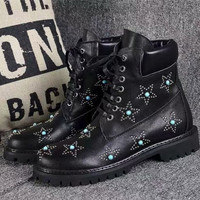 2018 Shoes Woman Med Heels Round Toes Ankle Boots Star Rivet Crystal Boots Woman Lace up Boots zapatos de mujer