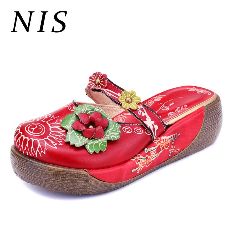 NIS Vintage Bohemian Style Women Slippers Shoes Woman Flower Genuine Leather Round Toe Platform Slides Slippers