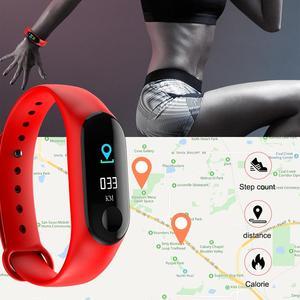 Image 4 - M3 شاشة ملونة سوار ذكي جهاز تعقب للياقة البدنية خطوة عداد معدل ضربات القلب ضغط الدم معلومات تذكير مقاوم للماء الرياضة
