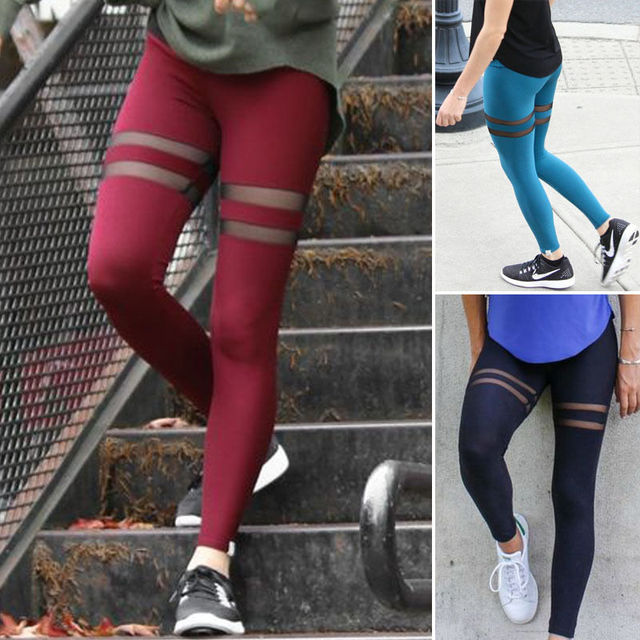Stylish Pencil Mesh Patchwork Skinny Slim Trouser Leggings