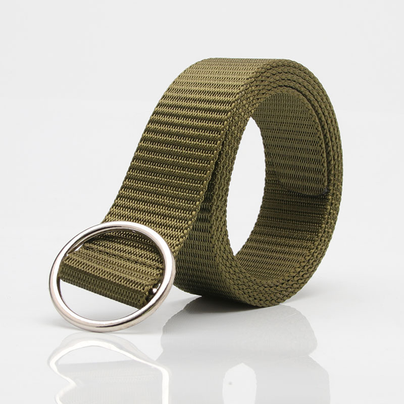Luxury Fashion Round Buckles Solid Color Weave Nylon   Belt   Outdoor Movement Men And Woman   Belts   Ceinture Homme