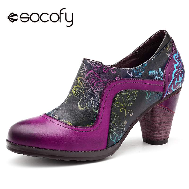 Socofy Retro Genuine Leather Pumps Women Shoes Woman Zipper Vintage Printed Flower Chunky High Heels Pumps Ethnic Dancing Shoes
