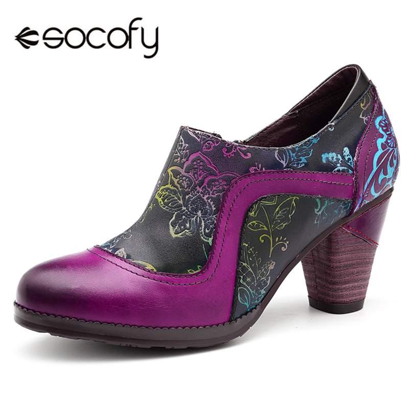Socofy 레트로 정품 가죽 펌프 여성 신발 여성 지퍼 빈티지 인쇄 꽃 chunky 하이힐 펌프 민족 춤 신발-에서여성용 펌프부터 신발 의  그룹 1