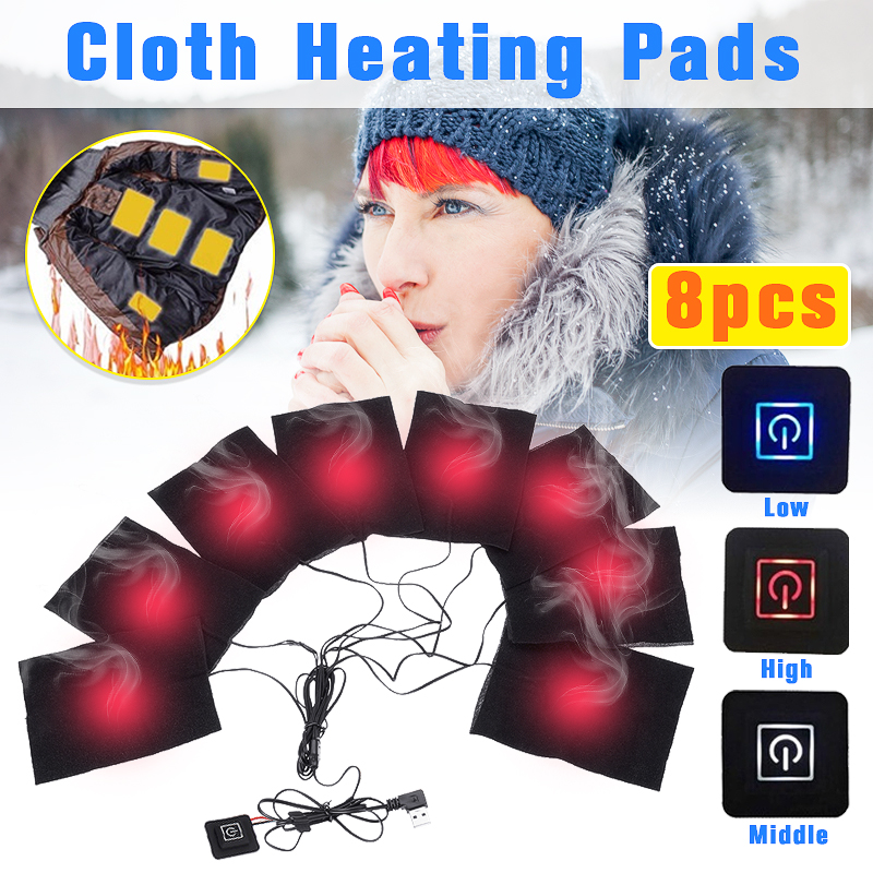 8 in 1 Heating Pad Electric USB Jackets Clothes Heating Pad Waterproof Carbon Fiber Heater For Winter Warmer