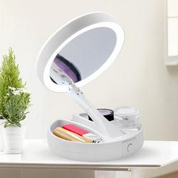 Portable LED Lighted Makeup Mirror Vanity Compact Make Up Pocket Mirrors Vanity Cosmetic Hand Mirror 10X Magnifying Glasses