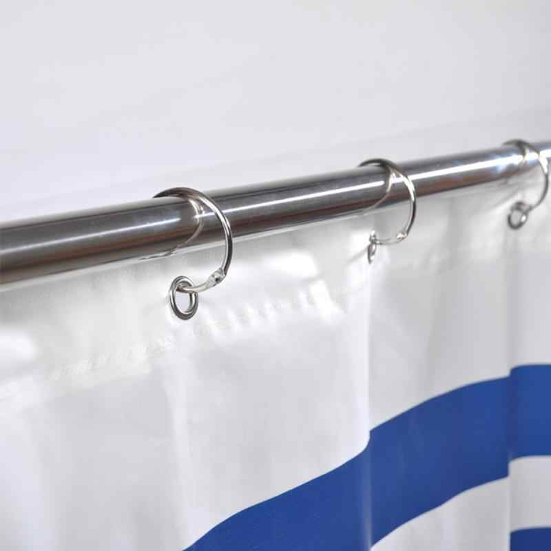 12pcs/set Metal Hanger O shape Rings Bathroom Hooks Shower Curtain hanging Silver color high quality