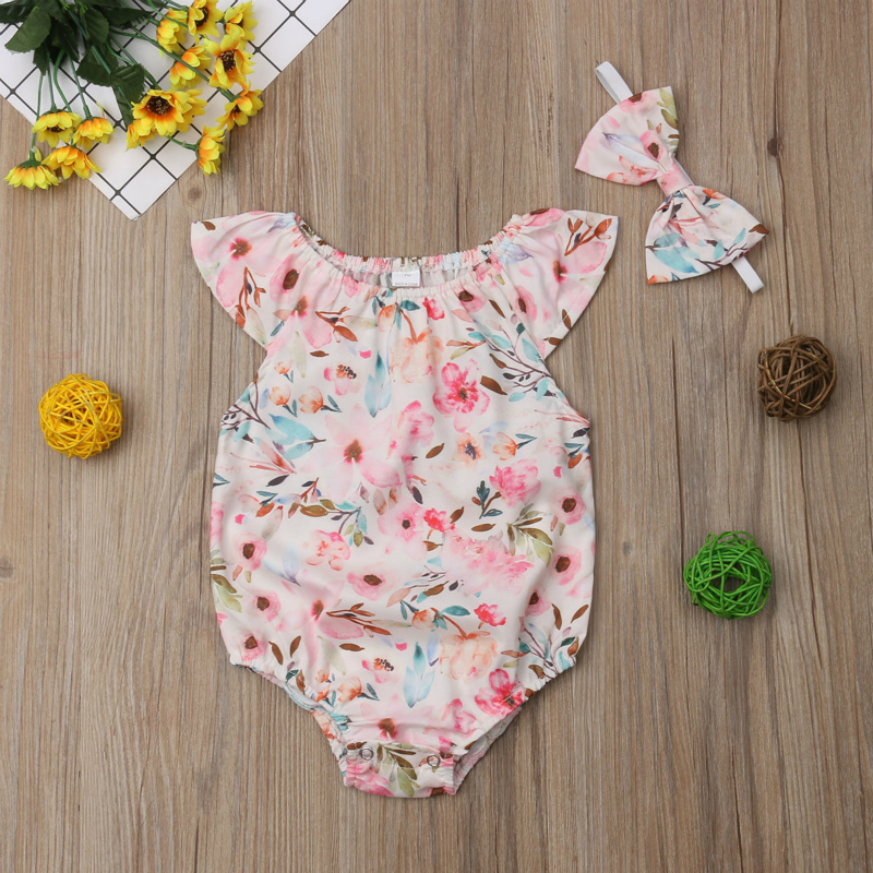 Bodysuits & One-pieces Trustful 2pcs Cute Floral Printed Baby Girl Clothes+headband Elastic Sleeveless Baby Rompers Jumpsuit Garment New Born Baby Clothes