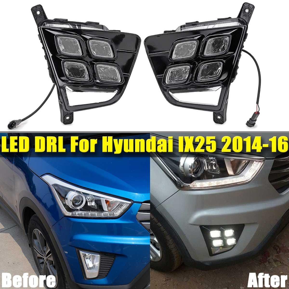 1 Pair 12V White LED DRL Daytime Running Light Fog Lamp Turn Signals Light For Hyundai For Creta IX25 2014 2015 2016