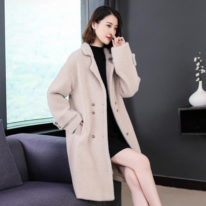 Lange Manteau Fischgräten Mantel Frauen Kaschmir white Wolle Version Winter Koreanische Nerz Reis Kurzhaarige Imitieren Gold Femme 2018 Creamy Weiß rp7nqBpX
