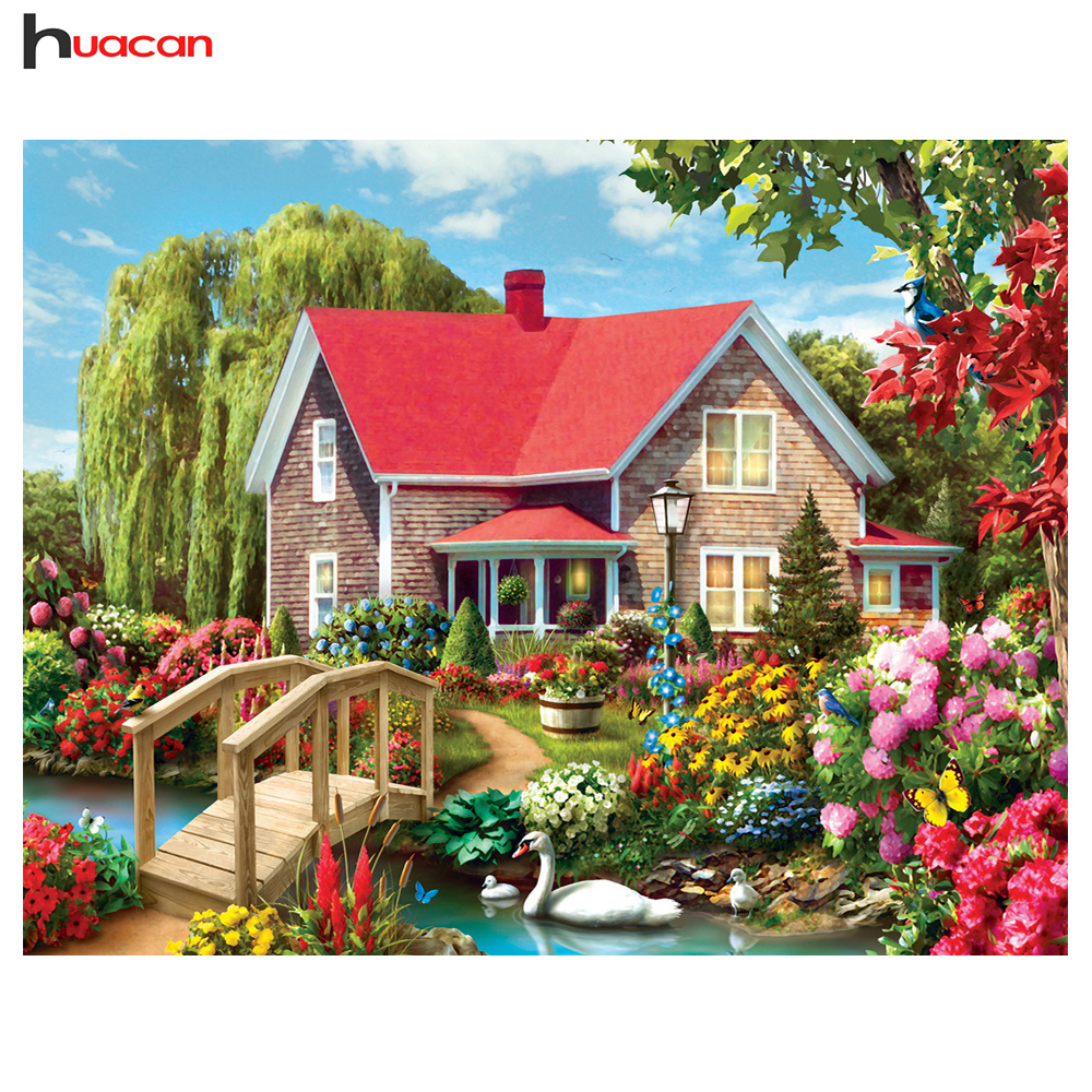 Huacan Diamond Painting,Full,Red House,5D,Needlework,Rhinestone,Mosaic,Diamond Embroidery,Cross Stitch,Landscape,Home DecorHuacan Diamond Painting,Full,Red House,5D,Needlework,Rhinestone,Mosaic,Diamond Embroidery,Cross Stitch,Landscape,Home Decor