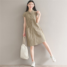 Women Summer Dresses Vintage Stand Collar Short Sleeve Dress Solid Color Button Vestidos Femininos 2019