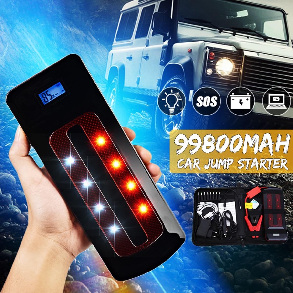 Portable 99800 mah 12 v D'urgence Chargeur de Batterie De Voiture Jump Starter Smart Clip Puissance Banque de Départ Lumière Bar NOUS/ ROYAUME-UNI/UA/UE