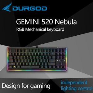 Durgod 87 gemini 520 nebulosa rgb iluminação mecânica teclado cereja mx pbt doubleshot marrom azul preto prata vermelha silenciosa