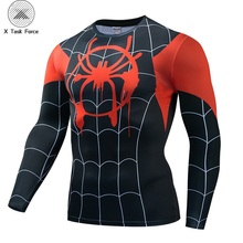 Spider-Man: Into the Spider-Verse Miles Morales Cosplay Unisex 3D T-shirt Long Sleeve Tops For Male Fitness Clothing S-4XL