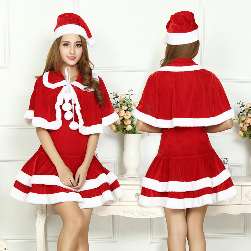 2018 Christmas Cute Women Santa Claus Dress Red Female Autumn Winter Party  Costumes Sexy One Size b972000efcfe