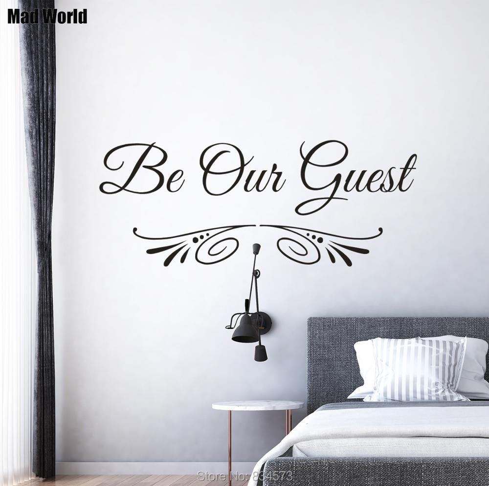 Us 13 5 Be Our Guest Quote Guest Bedroom Entryway Wall Art Stickers Wall Decals Home Diy Decoration Removable Room Decor Wall Stickers In Wall