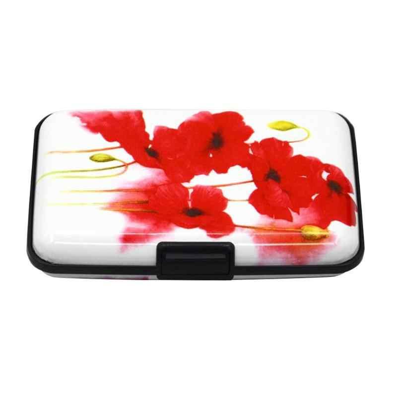 Повседневный Женский чехол с геометрическим принтом RFID Противоугонная коробка для визиток алюминиевая кредитная карта, карман, держатель