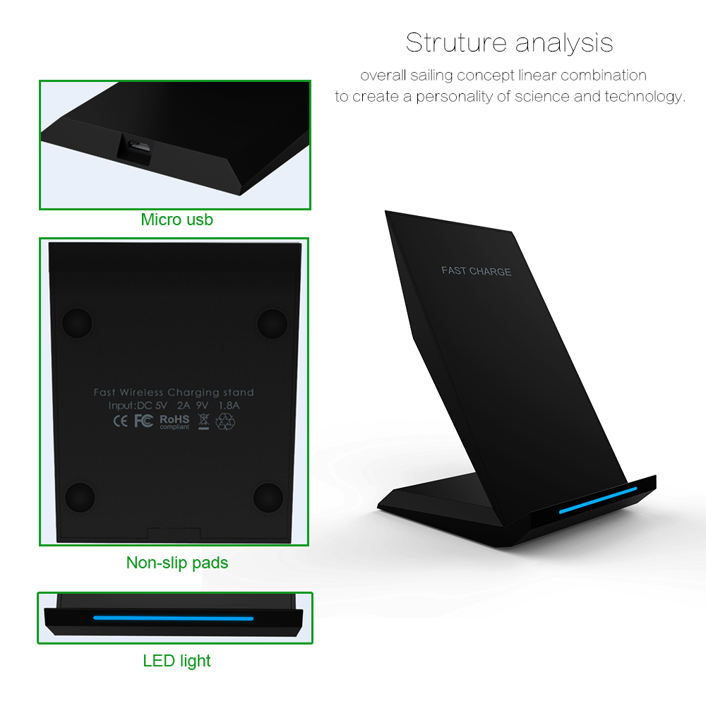 Image 5 - KEPHE 10W Qi Wireless Charger Quick Charge 3.0 Fast Charging for iPhone 8 10 X Samsung S8 S9 S10 2 Coils Stand 5V/2A & 9V/1.67A-in Mobile Phone Chargers from Cellphones & Telecommunications