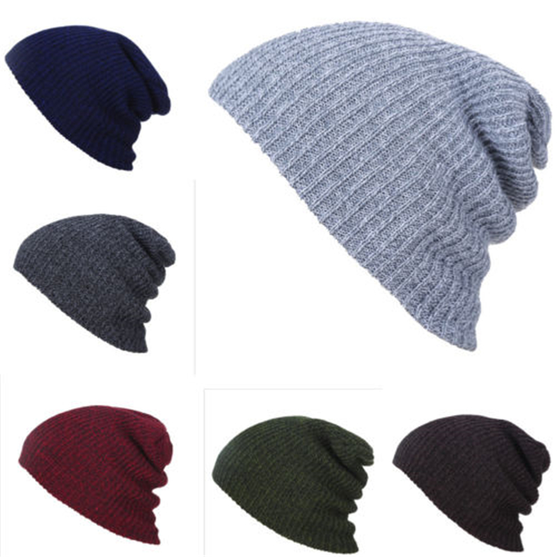 Mens Ladies Baggy Hat Warm Knit Winter Knitted Ski Beanie Skull Slouchy Caps