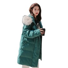 Winter Jacket Women Fashion Loose Hooded White Fur Collar Plus Size Down Cotton Parka Thicken Warm Overcoat Manteau Femme Hiver
