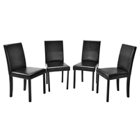 Panana set of 4 Kitchen Dining Chair Faux leather with pine wood leg High Back