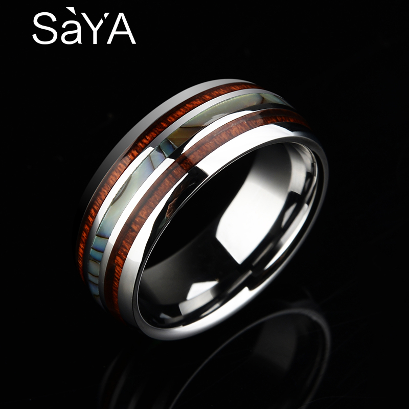 New Arrival Saya Brand 8MM Tungsten Mans Ring Dome Band Inlay Koa Wood and Two PCS Mother of Pearl for Mans Party Jewelry New Arrival Saya Brand 8MM Tungsten Mans Ring Dome Band Inlay Koa Wood and Two PCS Mother of Pearl for Mans Party Jewelry