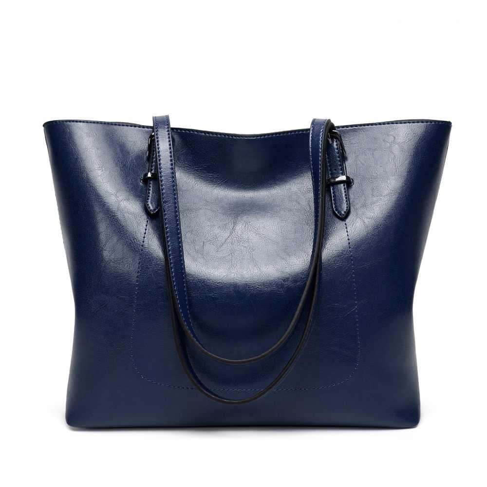 Moda cera de óleo bolsas de couro feminino luxo bolsa de ombro com bolsa bolso senhoras saco do mensageiro grande tote sac c835